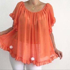 NWOT Semi Sheer Boho Orange Blouse Top